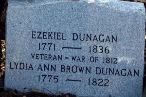 Ezekiel and Lydia Ann Brown Dunagan's Tombstone