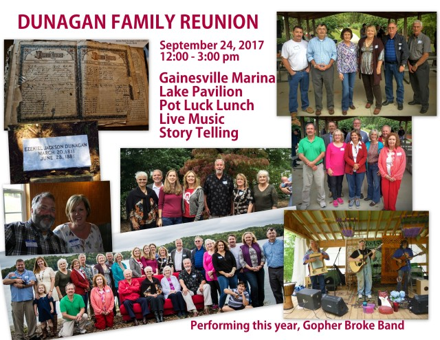 Dunagan Family Reunion 2017 flyer